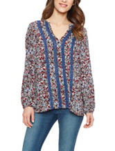 Skyes The Limit Ditzy Print Lace Inset Top
