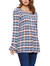 Skyes The Limit Plaid Print Peasant Top