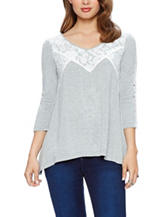 Skyes The Limit Lace Inset Sharkbite Knit Top