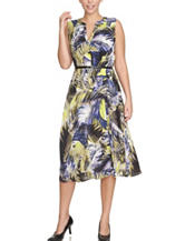 Chaus Tropical Print Belted Midi Dress