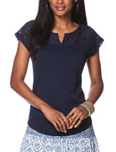 Chaps Navy Lace Knit Top