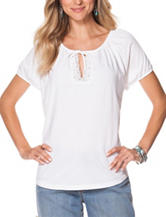 Chaps White Jersey Knit Top