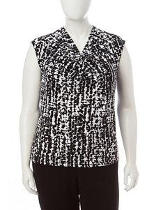 Kasper Plus-size Black & White Abstract Print Top