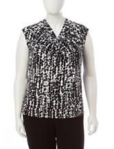 Kasper Plus-size Black & White Abstract Print Top