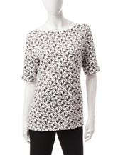 Rebecca Malone Giraffe Print Knit Top
