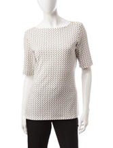 Rebecca Malone Dot Print Zipper Top