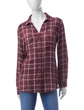 Bandolino Rosemary Plaid Print Woven Top