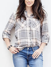 Hannah Plaid Print Lace Trim Top