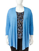 Kasper Plus-size Blue Shaker Stitch Cardigan