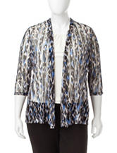 Kasper Plus-size Abstract Mesh Knit Cardigan