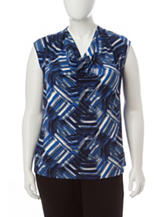 Kasper Plus-size Multicolor Abstract Print Top