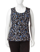 Kasper Plus-size Abstract Mesh Knit Top