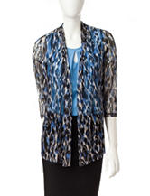 Kasper Multicolor Leopard Knit Cardigan
