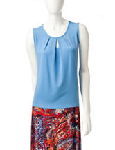Kasper Blue Pleat Top