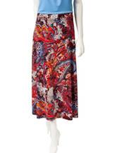 Kasper Multicolor Paisley Print Midi Skirt