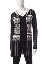 Energé Mixed Print Hooded Cardigan