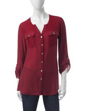 Notations Lace Accent Woven Top