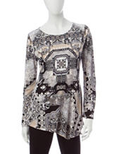 Energé Mixed Print Asymmetrical Top