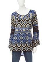 Hannah Geo Print Hi-Lo Crochet Top
