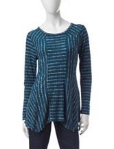 Hannah Striped Print Sharkbite Knit Top