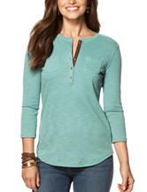 Chaps Faux Suede Trim Ribbed Knit Top