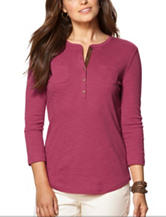 Chaps Pink Faux Suede Ribbed Knit Top
