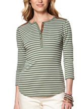 Chaps Striped Faux Suede Trim Henley Top