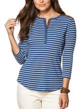 Chaps Striped Faux Suede Henley Top