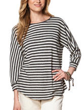 Chaps Striped Print Jersey Knit Top