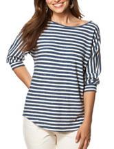 Chaps Striped Print Jersey Knit Top