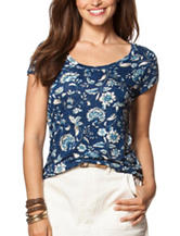 Chaps Floral Print Jersey Knit Top