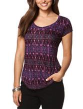 Chaps Ikat Print Jersey Knit Top