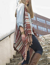 Energé Striped Print Fringe Trim Vest