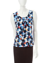 Kasper Multicolor Circle Print Top