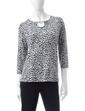 Cathy Daniels Embellished Cheetah Print Top