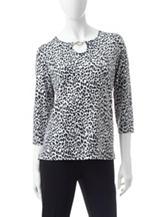 Cathy Daniels Embellished Cheetah Print Top