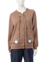 Rebecca Malone Owl Embroidered Fleece Cardigan