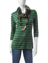 Energé 2-pc. Hi-Lo Striped Top & Scarf Set