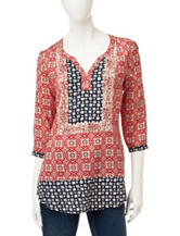 Rebecca Malone Mixed Print Peasant Top