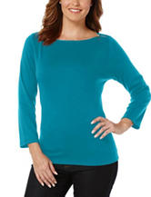 Rafaella Blue Zipper Knit Top