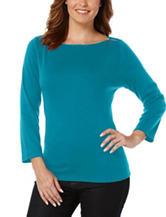 Rafaella Blue Zipper Knit Top
