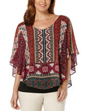 Rafaella Scarf Print Layered-Look Poncho Top