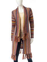 Hannah Striped Fringe Knit Cardigan