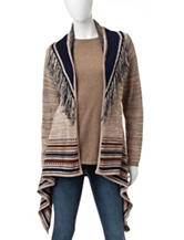 Hannah Striped Fringe Trim Cardigan