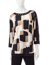 Alfred Dunner Abstract Print Knit Top