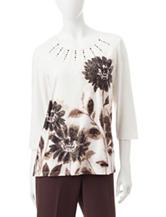 Alfred Dunner Floral Print Embellished Knit Top