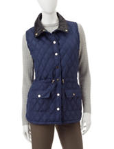 Hannah Faux Leather Trim Quilted Vest