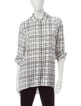 Zac & Rachel Windowpane Plaid Print Top
