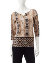 Ruby Rd. Python Print Embellished Knit Top