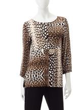 Ruby Rd. Leopard Print Knit Top